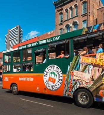 hop on and hop off tours of nashville - tour bus