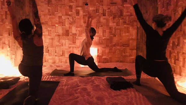 Yoga in the Salt Cave spa